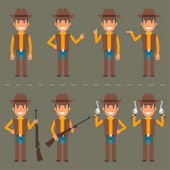 Vector illustration, cowboy character in various poses, eps 10 format.