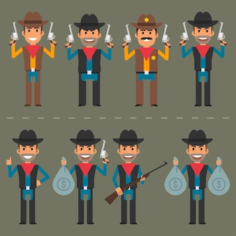 Векторная иллюстрация, ковбойское оружие персонажей и деньги, формат eps 10.