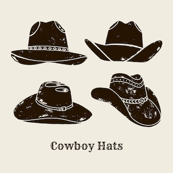 Vector illustration of cowboy hat. hat silhouette in vintage style , grunge effect. elements of the wild west for the design of posters, lettering, prints t-shirts. western usa label about wild west.