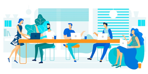 Vector illustration coworking large long table.