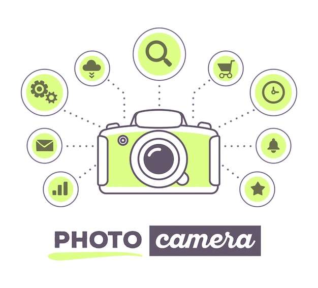 Vector illustration creative infographic of photo camera with icons and text on white background.