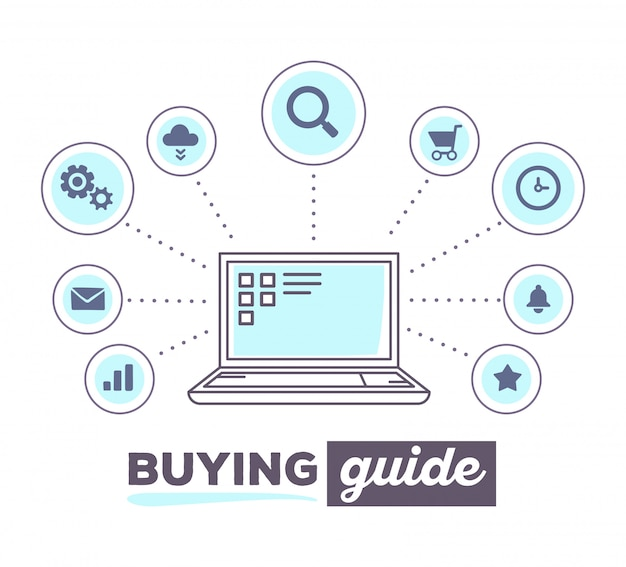 Vector illustration creative infographic of process of shopping on line with icons and text on white background. laptop concept