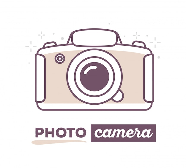 Vector illustration of creative photo camera with text on white background.