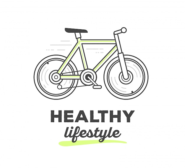 Vector illustration of creative sport bicycle with text on white background. healthy life style