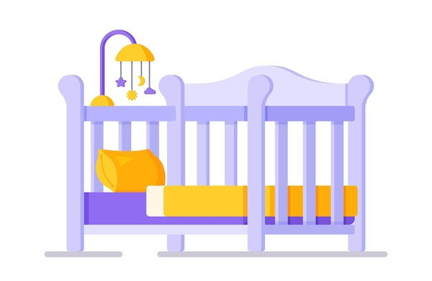 Vector illustration of a crib with blue flowers. a selection of a bed for the baby-to-be. baby carousel with suspended toys over crib, isolated on white background.