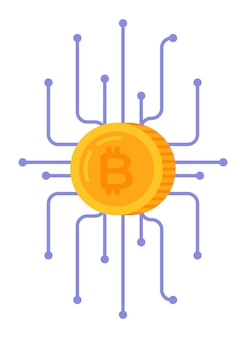 Vector illustration of crypto technology bitcoin and infographics earnings on the internet