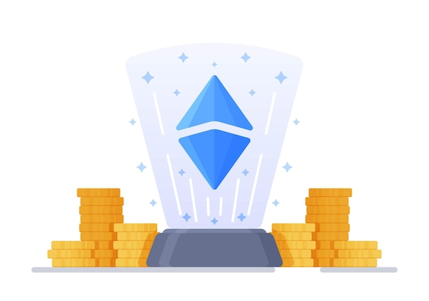 Vector illustration of crystals and ethereum concept of cryptocurrency and blockchain