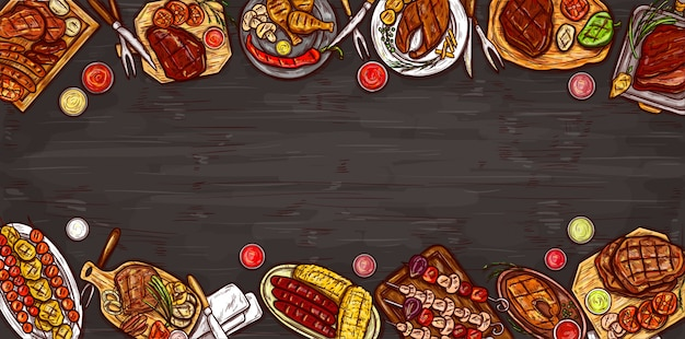 Векторная иллюстрация, кулинарный баннер, барбекю фон с жареным мясом, колбасы, овощи и соусы.