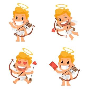 Vector illustration, cupid mascot in various positions, format eps 10