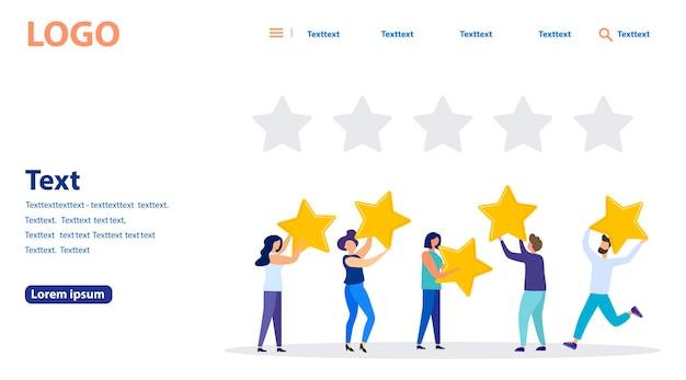 벡터 일러스트레이션, 고객 리뷰 등급, 다른 사람들이 리뷰 등급 및 피드백을 제공하고, 비즈니스 만족도를 지원합니다. 웹 배너, 모바일 웹사이트. 방문 페이지 템플릿.