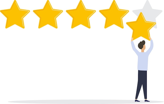 Векторная иллюстрация оценка отзывов покупателей разные люди дают оценку и отзывы