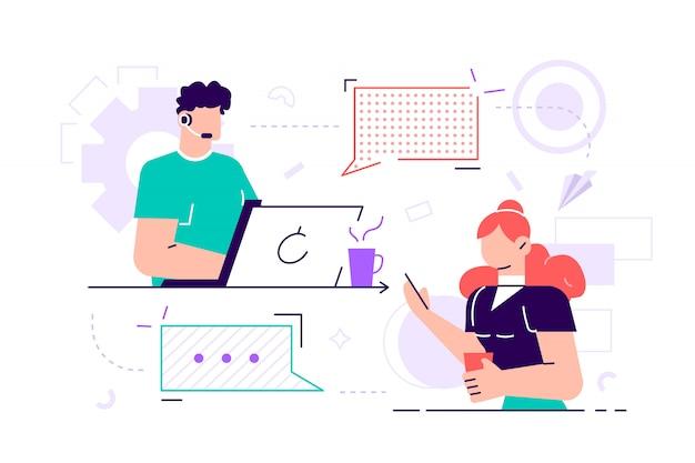 벡터 일러스트입니다. 고객 서비스, 남성 핫라인 운영자는 고객, 온라인 글로벌 기술 247 고객 및 운영자 지원을 조언합니다. 평면 스타일 벡터 일러스트 레이션