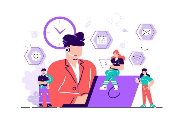 벡터 일러스트입니다. 고객 서비스, 남성 핫라인 운영자는 고객, 온라인 글로벌 기술 247 고객 및 운영자 지원을 조언합니다.