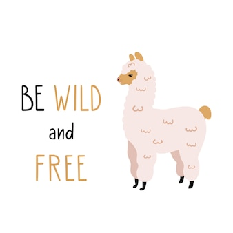 Vector illustration of cute alpaca with funny lettering.
