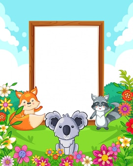 Vector illustration of cute animals with wood blank sign in the park