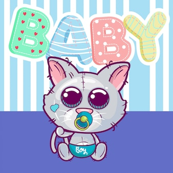 Vector illustration of a cute baby cat