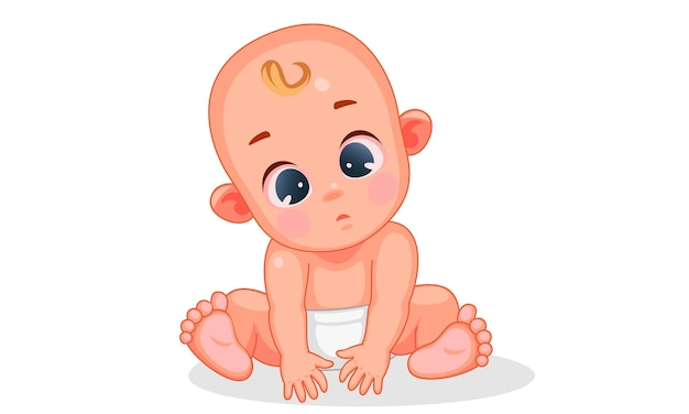 Vector illustration of cute baby with different expressions