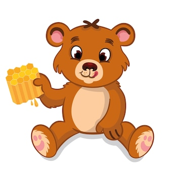 Vector illustration of a cute bear holding a honeycomb