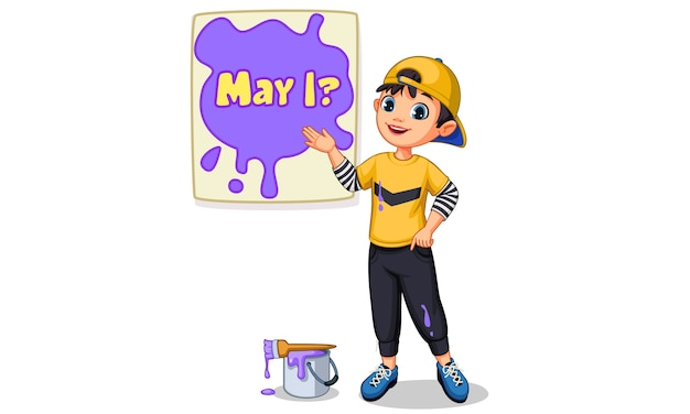 Vector illustration of cute boy painting a board of 'may i'  text
