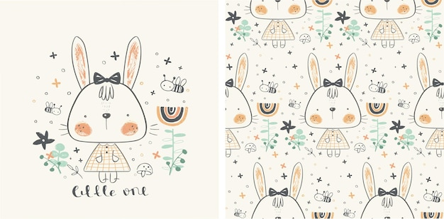 Vector illustration of a cute bunny girl in the garden  with seamless pattern