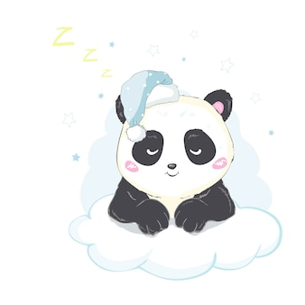 Vector illustration: a cute cartoon giant panda is in a cloud ready to sleep