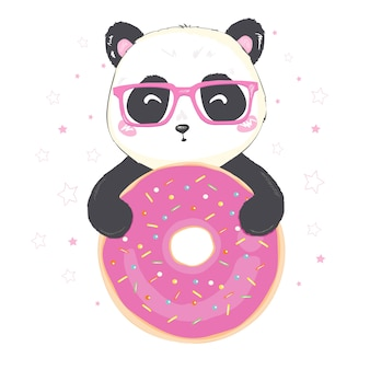 Vector illustration: a cute cartoon giant panda is sitting with pink doughnut in hand