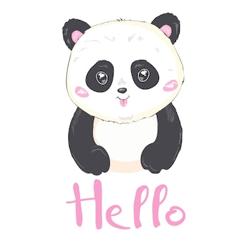 Vector illustration: a cute cartoon giant panda is smiling and say hello