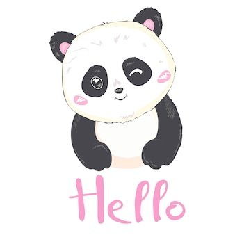Vector illustration: a cute cartoon giant panda is smiling and saying hello