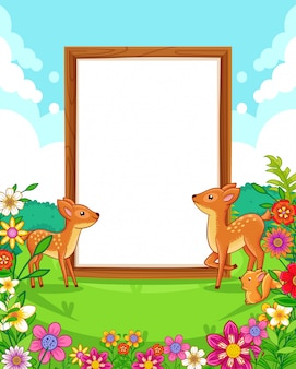 Vector illustration of cute deers with wood blank sign in the park