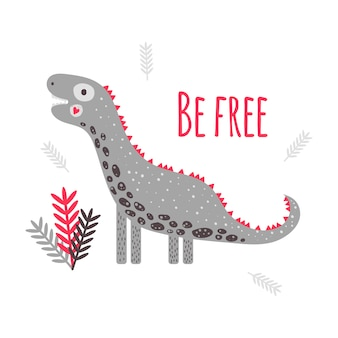 Vector illustration. cute dinosaur diplodocus. print for children with text be free. red and grey. leaves.