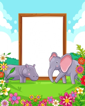 Vector illustration of cute elephant and hippo with wood blank sign in the park