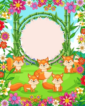 Vector illustration of cute foxes with bamboo blank sign in the garden