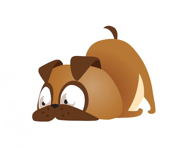 Vector illustration of cute and funny cartoon puppy activity