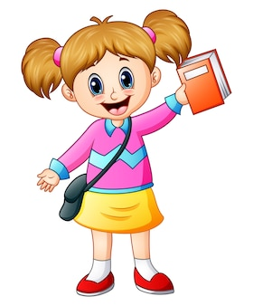 Vector illustration of cute girl go to school holding a book