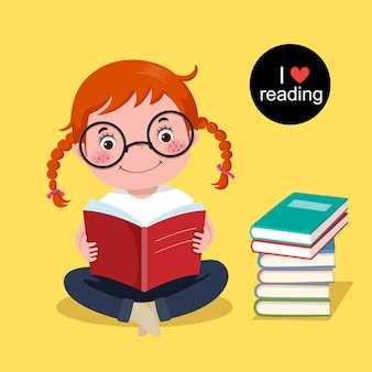 Vector illustration of cute girl reading a book on yellow background