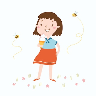 Vector illustration of cute girl witn an ice cream