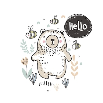 Vector illustration of cute hand drawn bear in the forest and text hello for cards textile paper