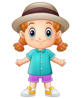 Vector illustration of cute little girl cartoon in a hat