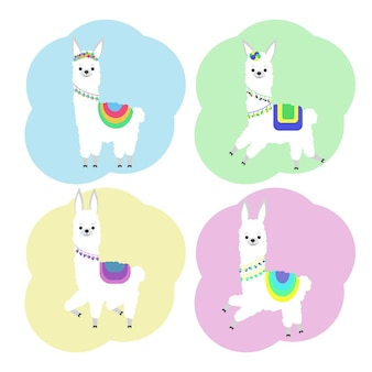 Vector illustration of a cute llama in colored ornaments. stickers
