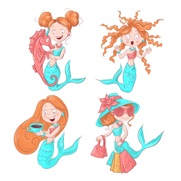Vector illustration of cute mermaid. vector illustration.