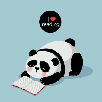 Vector illustration of cute panda reading a book on gray background