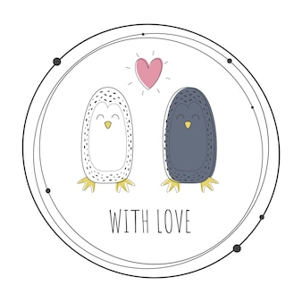 Vector illustration of cute penguins
