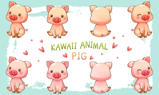 Vector illustration of cute pig