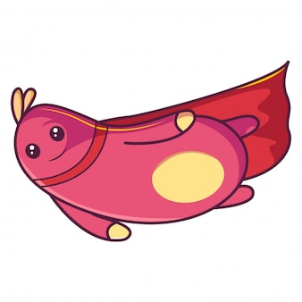 Vector illustration of cute pink insect wearing red cape.