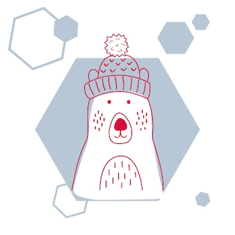 Vector illustration of a cute polar bear in hat.