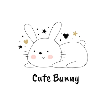 Vector illustration of a cute rabbit
