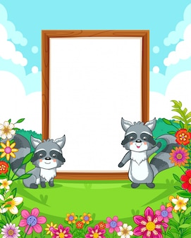 Vector illustration of cute raccoons with wood blank sign in the park