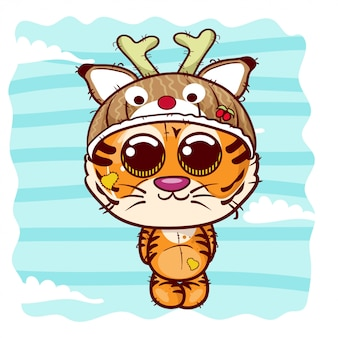 Vector illustration of a cute tiger. - vector
