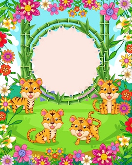 Vector illustration of cute tigers with bamboo blank sign in the garden
