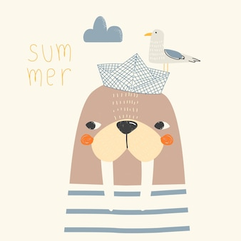 Vector illustration of a cute walrus with a bird on its head cute childrens background